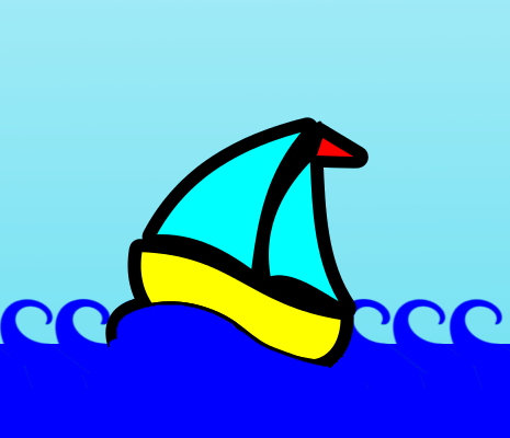 A simple, brightly-coloured cartoon drawing of a sailboat on the sea.