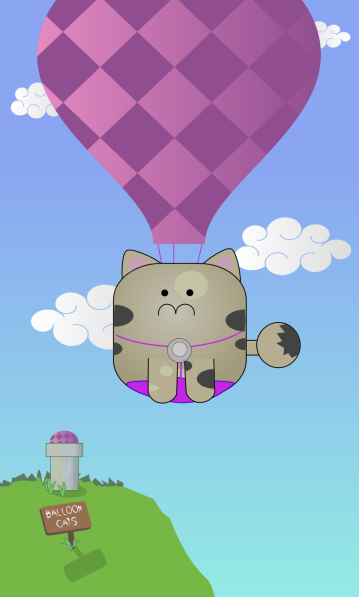 A cartoon drawing of a cute cat in a harness attached to a big hot air balloon floating in a blue sky with white clouds in the background.